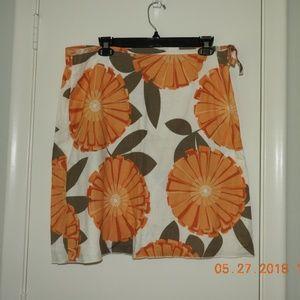 Orange Floral side tie skirt